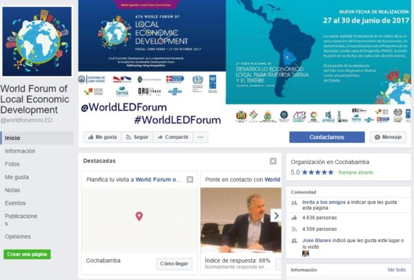 Facebook de World Forum of Local Economic Development